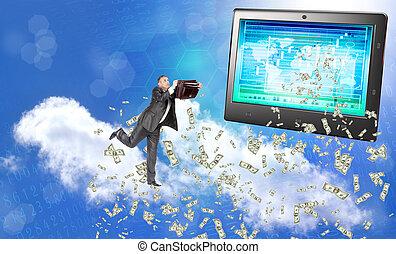 elektronisch, bank, handelt