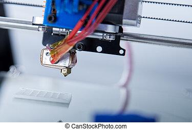 elektronisch, drei dimensionale, plastik, drucker, während, arbeit, 3d, printer.