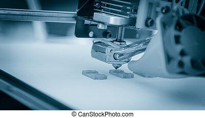 elektronisch, drei dimensionale, plastik, drucker, während, arbeit, 3d, printing.