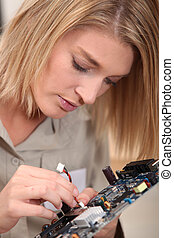 elektronisch, frau, komponente