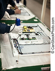 elektronisch, industriebereiche, fließband