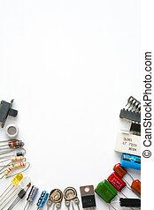 elektronisch, komponenten, weiß, hintergrund