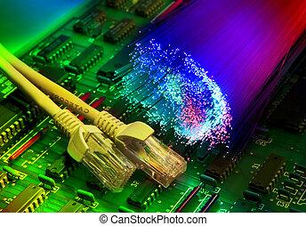 elektronisch, leiterplatte, mit, vernetzung, kabel, closeup, auf, faser, optisch, hintergrund
