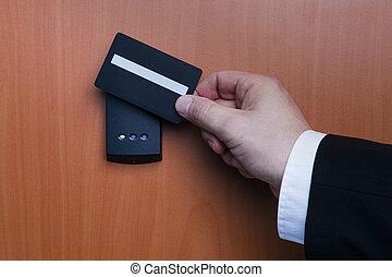 elektronisch, sicherheitssystem, wesen, aktiviert