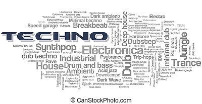 elektronisch, techno, muziek, stijlen, woord, wolk, bel, label, boompje