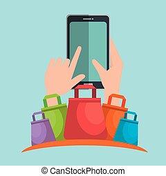 elektronische handel, set, iconen