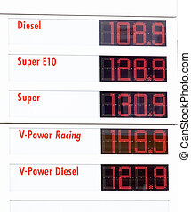 Tankstelle - Elektronische Preistafel an einer Tankstelle