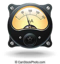 elektronisk, analog, vu, signal, meter