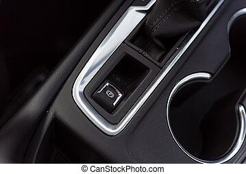 elektronisk, bromsa, nymodig, parkering, bil, knapp, epb