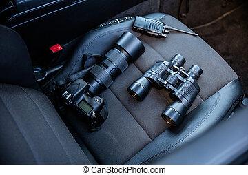 elektronisk utrustning, på, bil sittplats