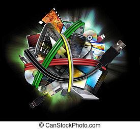 elektroniske, teknologi, tråd, liner