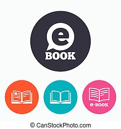 elektronowa książka, signs., e-książka, symbols.
