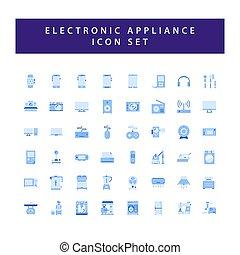 elektronowy, ikona, komplet, płaski, przyrządy, dom, barwny, nowoczesny, styl, design.