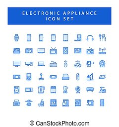 elektronowy, ikona, szkic, komplet, przyrządy, dom, wypełniony, styl, design.