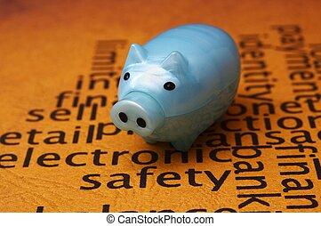 elektronowy, pojęcie, bezpieczeństwo, piggy bank
