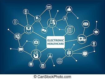 elektronowy, tło, healthcare