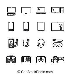 elektronowy, urządzenia, ikony