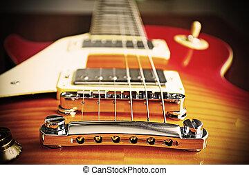 elektryczna gitara, most, w, rocznik wina, skutek