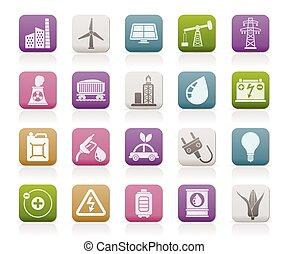 elektryczność, źródło, ikony