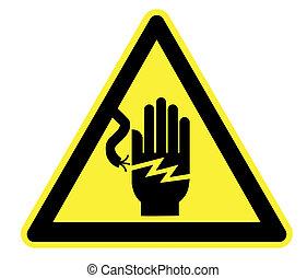 elektryczność, żółty, ostrzeżenie triangel