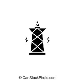 elektryczność, concept., wektor, czarnoskóry, symbol, pylon, płaski, ikona, znak, illustration.