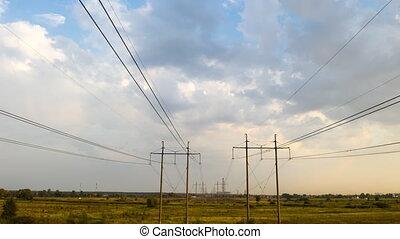 elektryczność, czas, pylony, pomyłka, sunset., dostarczcie...