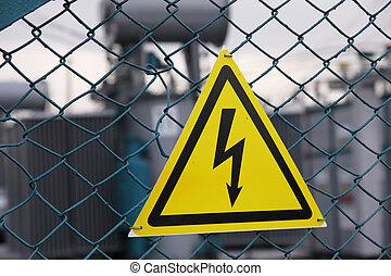 elektryczność, dangerously, znak