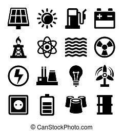 elektryczność, energia, komplet, moc, ikony