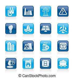 elektryczność, energia, moc, ikony