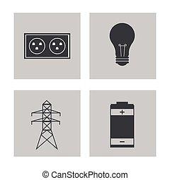 elektryczność, energia, zbiór, moc, ikony