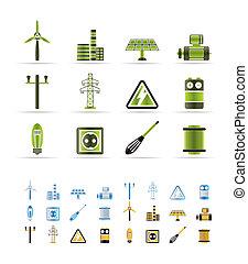elektryczność, ikony, moc