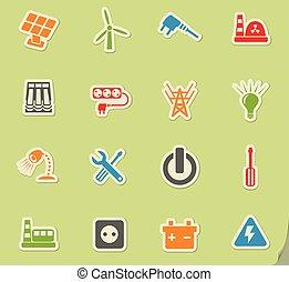 elektryczność, komplet, ikona