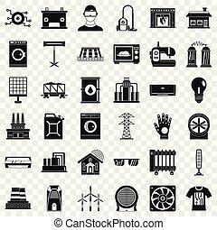 elektryczność, komplet, styl, naturalne ikony