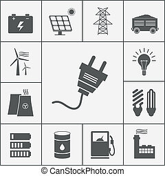 elektryczność, moc, ikony