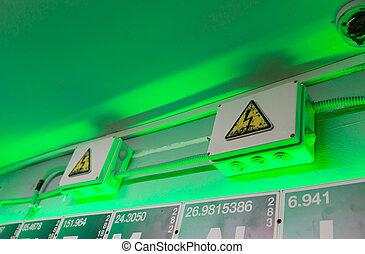 elektryczność, ostrzeżenie, boks