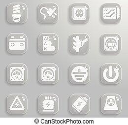 elektryczność, prosto, ikony