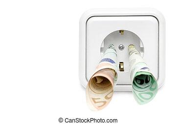 elektryczność, przód, wydatki, prospekt