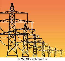 elektryczność, pylony