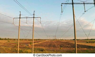 elektryczność, pylony, sunset., kreska, moc, napięcie...
