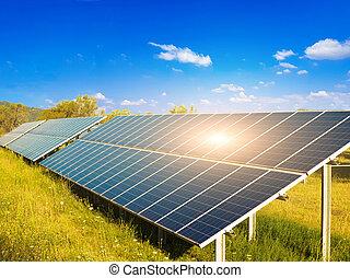 elektryczność, słońce, belki, słoneczny, photovoltaic, park