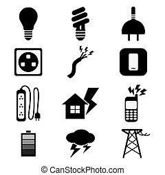 elektryczność, set., czarnoskóry, moc, ikony