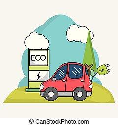 elektryczność, wóz, energia, stacja, lina, recharge