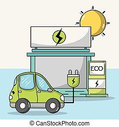 elektryczność, wóz, stacja, lina, recharge
