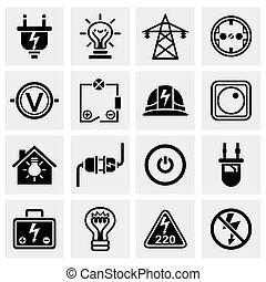 elektryczność, wektor, komplet, ikona