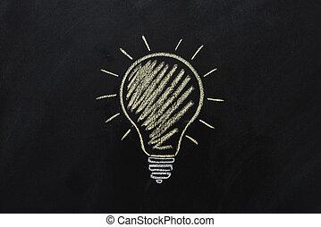 elektryczny, do góry, żółty, czarnoskóry, chalkboard, bulwa, zamknięcie, pociągnięty