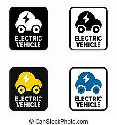 elektryczny pojazd, wóz, informacja znaczą