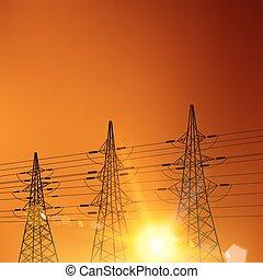 elektryczny, pylony