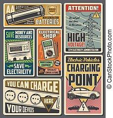 elektryczny, służba, elektryczność, ładujący, pojazd