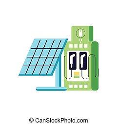 elektryczny, służba, energia, stacja, poduszeczka słoneczności