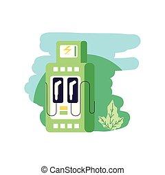 elektryczny, służba, natura, energia, stacja, liście